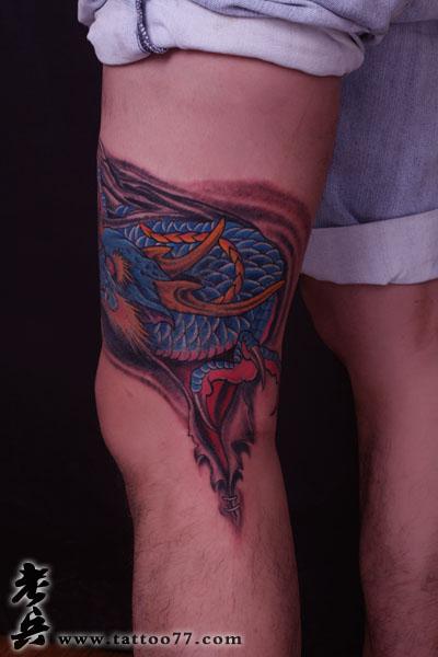 武汉老兵纹身培训网遮盖疤痕胎记--腿部龙纹身图片