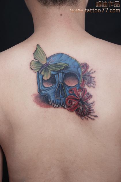 武汉专业纹身培训:遮盖旧图--骷髅彼岸花纹身图案作品