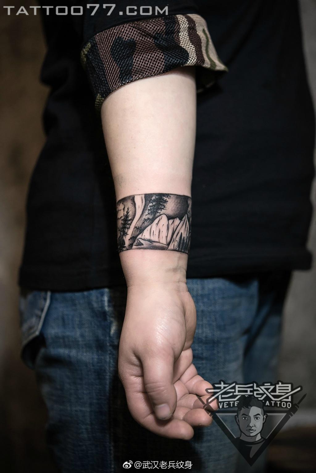 手腕风景臂环纹身图案作品