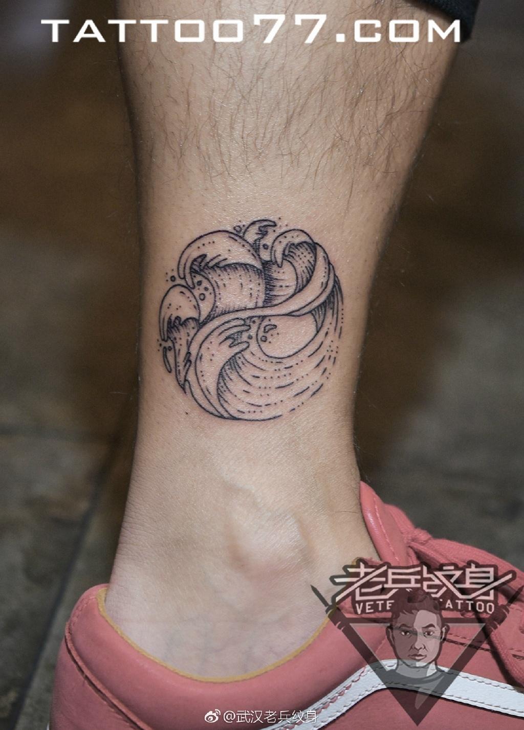 脚踝小清新海浪纹身图案手稿作品