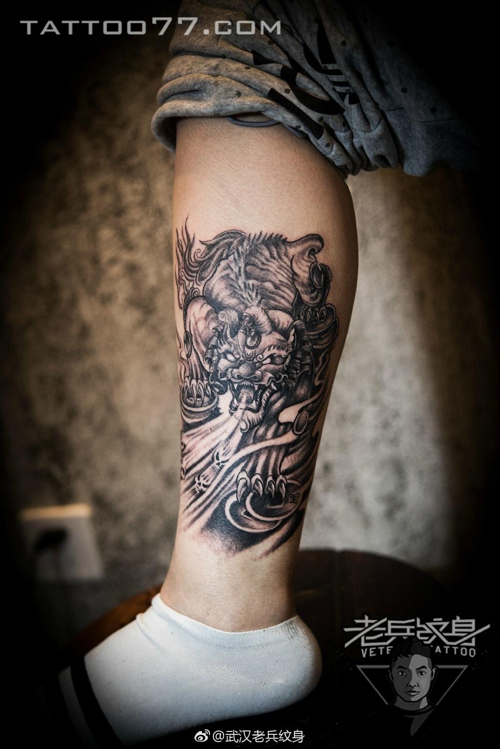 小腿貔貅传统纹身图案作品