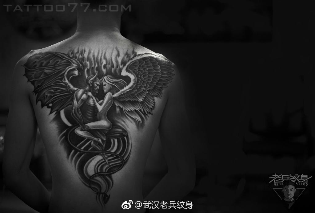 后背满背天使魔鬼纹身图案