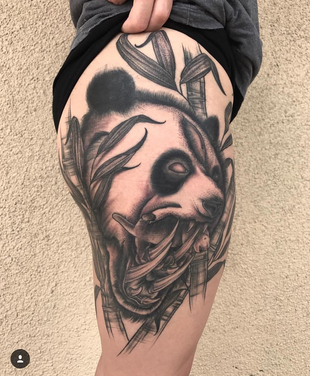 武汉大腿熊猫纹身图案图片