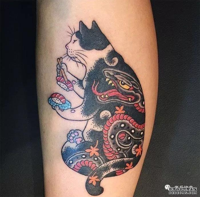 纹身素材第415期——日式传统风格猫咪图案