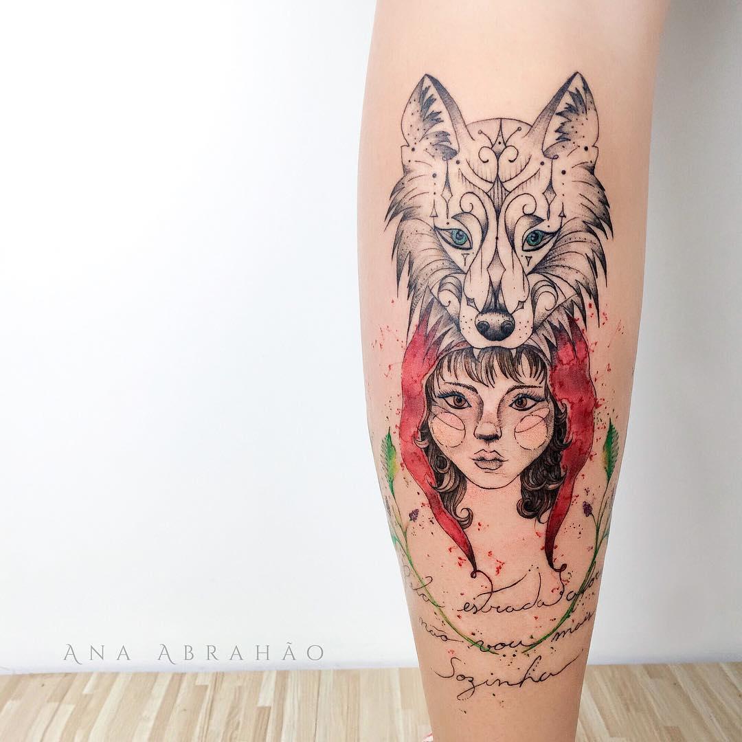 小腿狼纹身图案大全