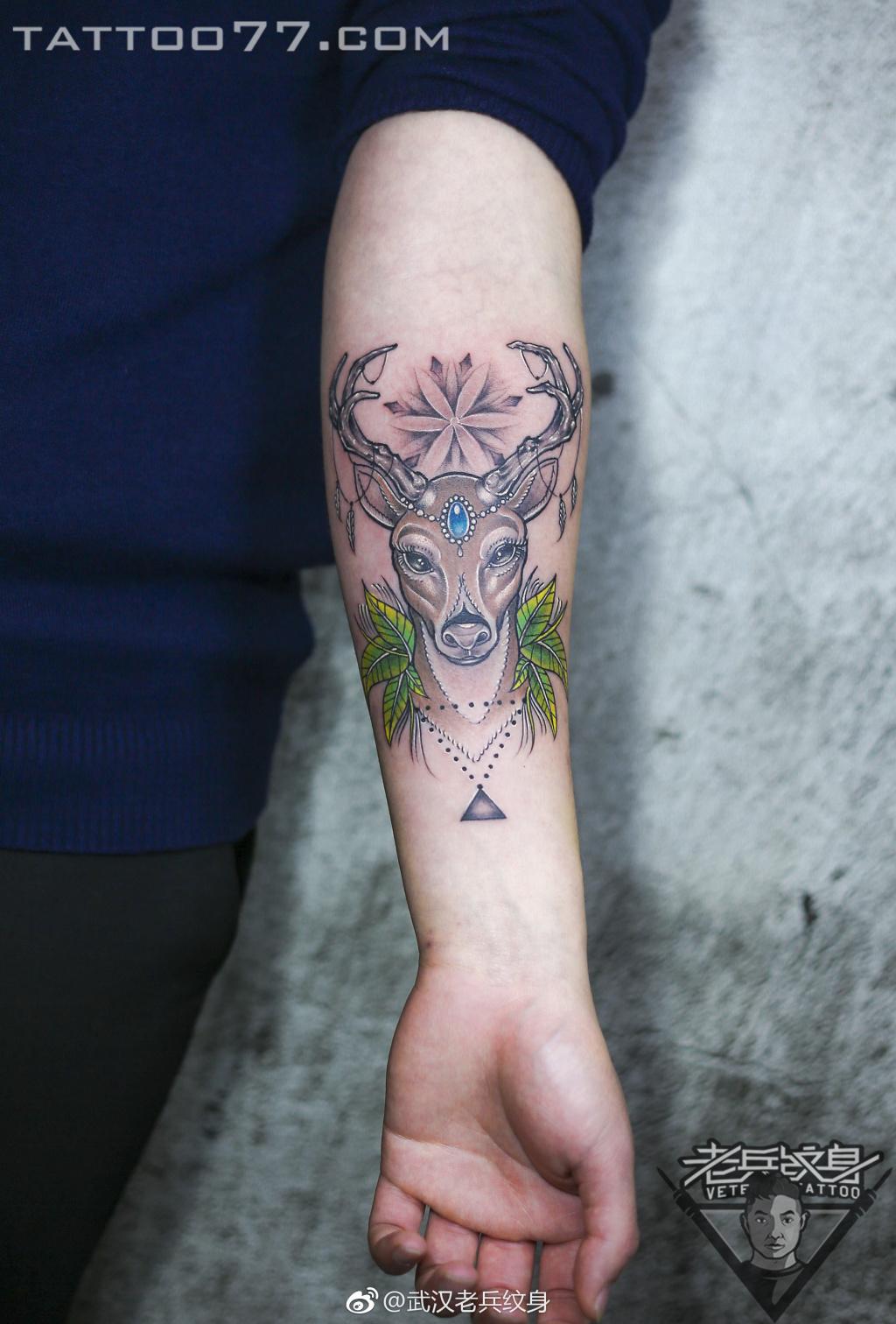 小臂小鹿纹身图案图片