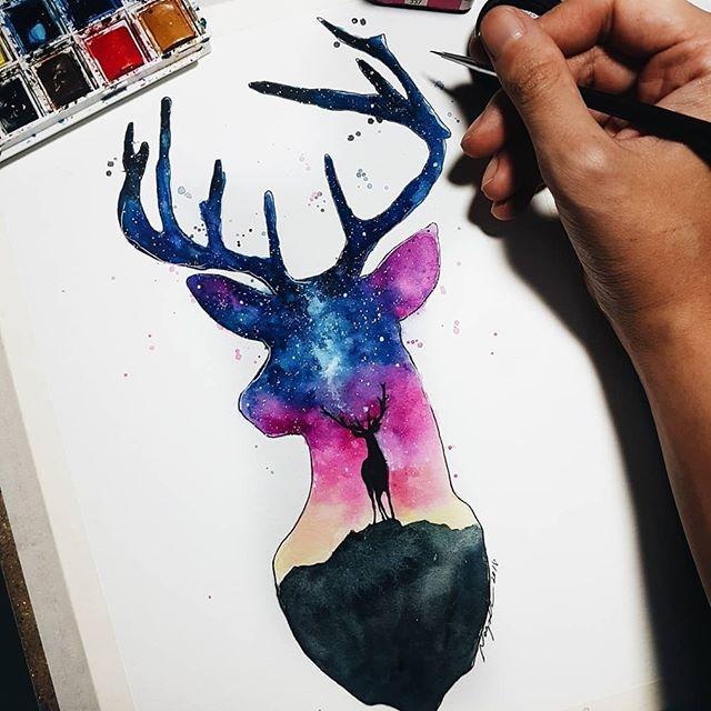 手稿星空鹿纹身图案
