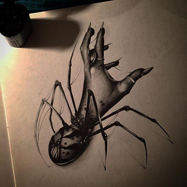 暗黑蜘蛛手纹身图案